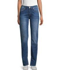 ganni women's split-cuff tapered jeans - medium dark - size 29 (6-8)