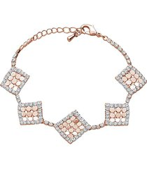 bracciale con strass e dettagli rombo in metallo rosato per donna