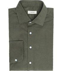 camicia da uomo su misura, albini, velluto millerighe verde 100% cotone, autunno inverno | lanieri