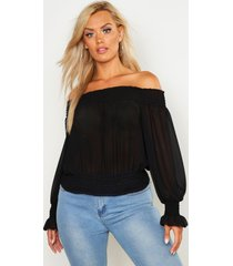 plus off shoulder top, black