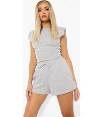 crop top met schouderpads en shorts set, light grey