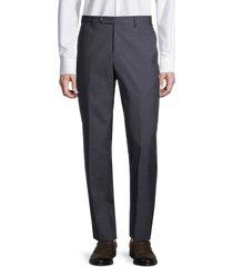 zanella men's david wool flat-front pants - blue - size 40