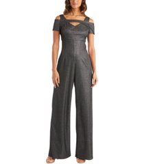 nightway cold-shoulder shimmer jumpsuit