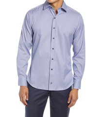 david donahue trim fit dress shirt, size 16.5 in blue at nordstrom