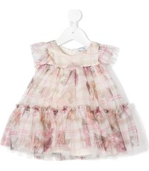 monnalisa teddy bear print tulle flared dress - pink