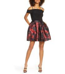 women's morgan & co. fit & flare dress, size 7 - black