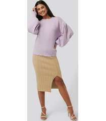 na-kd trend knitted pencil skirt - beige