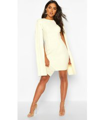 pleated cape sleeve mini dress, ivory