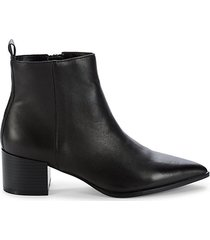 emerson stacked heel leather booties