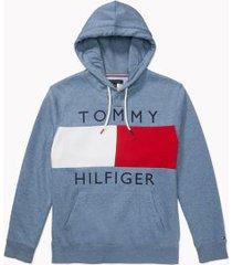 tommy hilfiger men's adaptive logo flag hoodie fleet blue heather - m