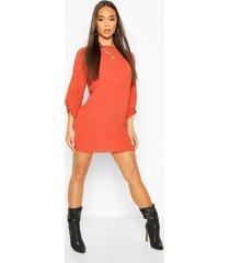 bow sleeve woven shift dress, rust