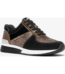 mk sneaker allie in pelle scamosciata e mesh metallico glitterato - blk/brnz/sil - michael kors
