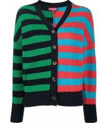 staud essex knitted striped cardigan