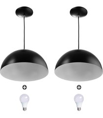2 lustres pendente meia lua 30cm alumínio preto + lampada