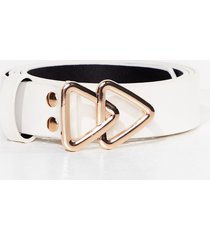 womens this way triangle buckle belt - white