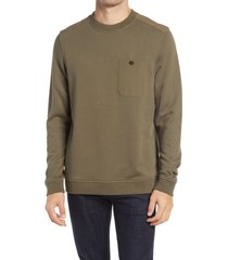 ted baker london singer mixed media pullover, size 5 in khaki at nordstrom