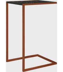 mesa lateral marquina/cobre artesano preta/cobre