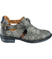 zapato tipo botín hojas - gris