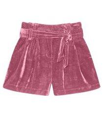 lez a lez - shorts clochard com cinto veludo bordo cashemir