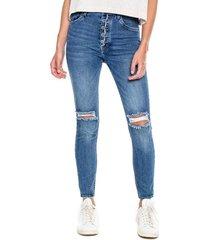 high waist skinny jeans con botonadura externa y rotos en rodillas color blue
