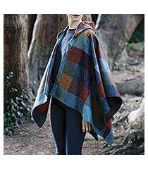 lambswool tweed hooded cape, 'avoca village' (ireland)