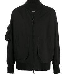 black multicolored zip-up jacket