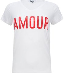 camiseta con screen cuello v color blanco, talla l
