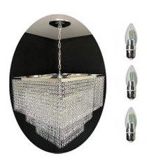 kit lustre cristal acrílico 45x70 + 3 lâmpadas led acl25
