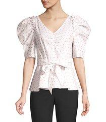 dot drape peplum blouse