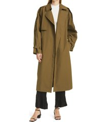 women's frame oversize trench coat, size small - green