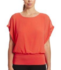 joseph a dolman short sleeve chiffon blouse