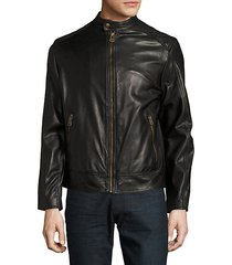 zip-front faux-leather moto jacket