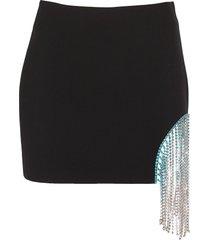 ombre crystal fringe cutout mini skirt
