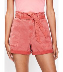 loft petite cuffed paperbag pull on shorts in twill