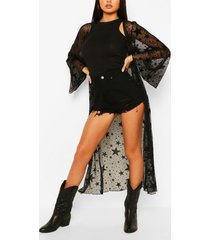 star flock mesh maxi kimono, black