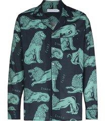 desmond & dempsey lion print pajama shirt - blue