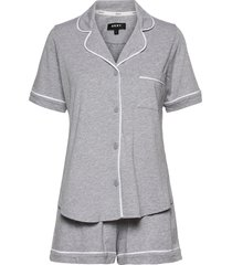 dkny new signature s/s top & boxer pj pyjamas grå dkny homewear