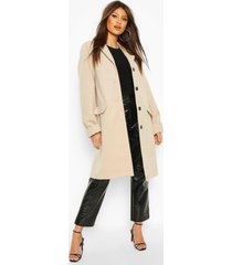 button through wool look coat, stone