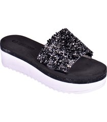 sandalias de plataforma con punta abierta negro enrico coveri rlysa glitter