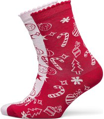 2p cotton christmas candy socks lingerie socks regular socks röd hunkemöller