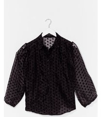 dot something for you organza puff sleeve blouse - black