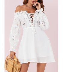 yoins blanco con cordones diseño fuera del hombro mangas largas vestido