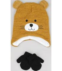 kit infantil de gorro ursinho com bordado e orelhas caramelo + luva em tricô preta