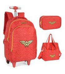 kit mochila infantil com rodinhas mulher maravilha com lancheira e estojo