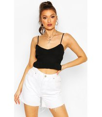 knitted ruffle crop top, black