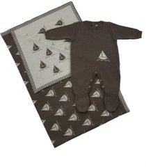 conjunto macacão e manta passion tricot barco brown