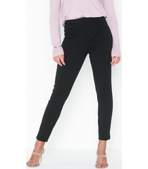 selected femme slfilue mw pintuck slit pant black chinos