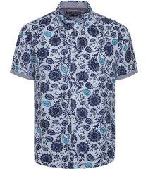 camisa azul tommy hilfiger slim flower print shirt