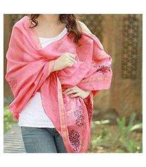 cotton and silk shawl, 'honeysuckle splendor' (india)