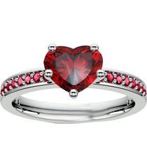 0.75ct 14k white gold finish heart shape red garnet solitiaire with accents ring